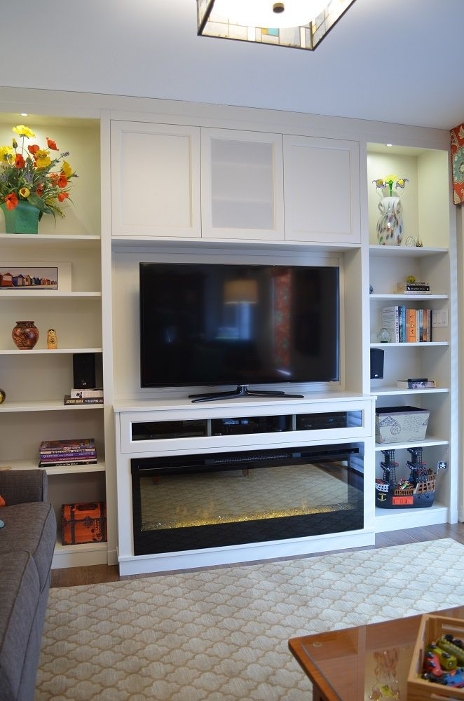 Family Room With Custom Cabinetry And Dimplex Blf50 Electric