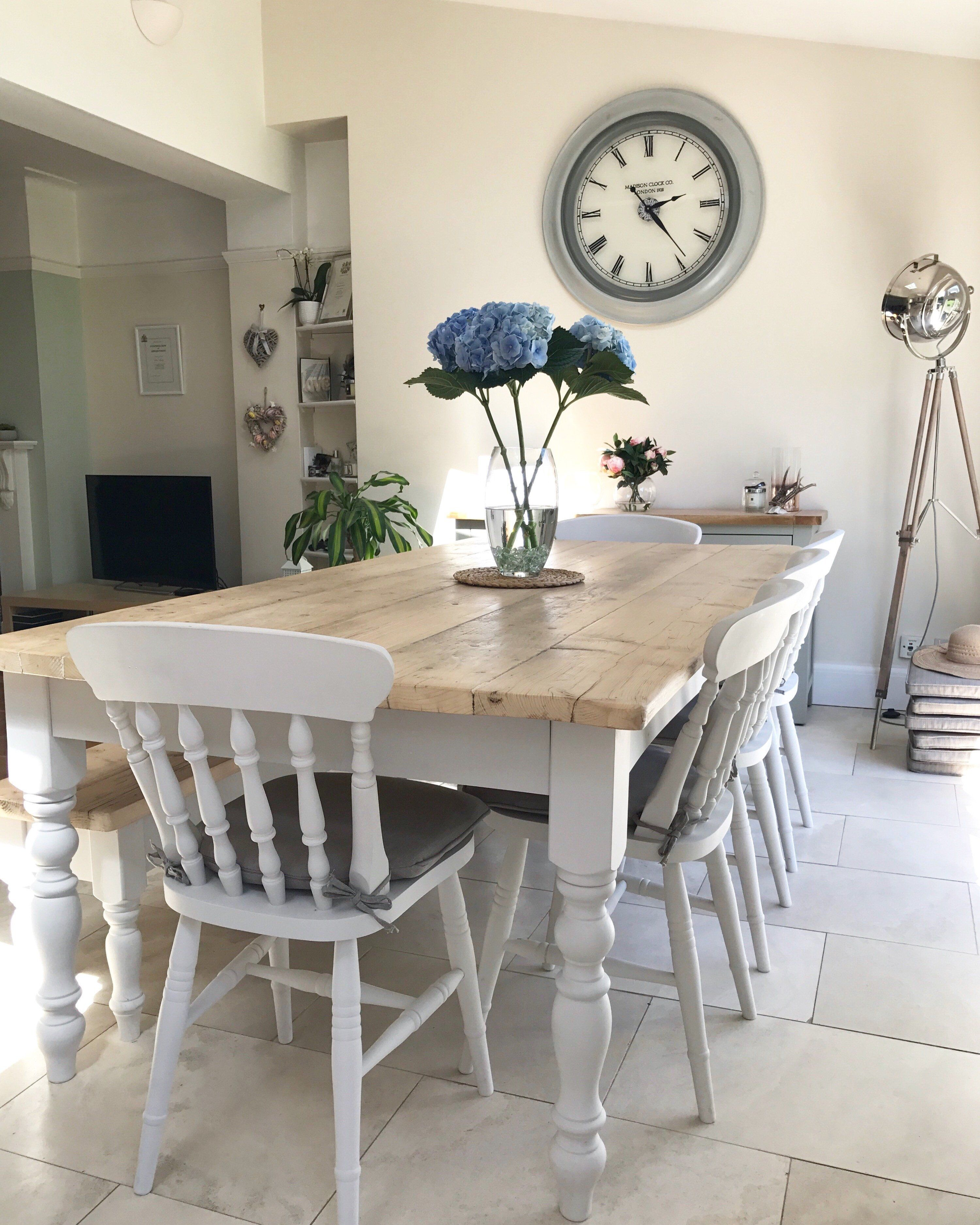 The Florence Reclaimed Farmhouse Table Painted In A Colour Of