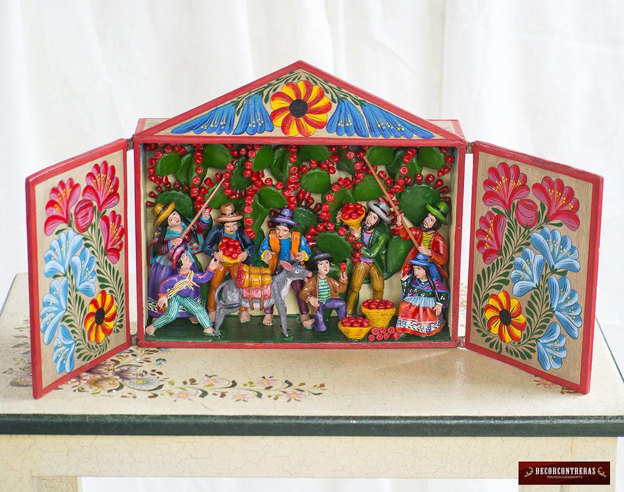 Retablo peruano hecho a mano festival andino for Decoracion en madera para el hogar