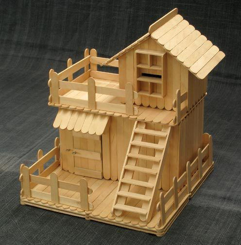 Two Story Popsicle Stick House 3d Metric Model House
