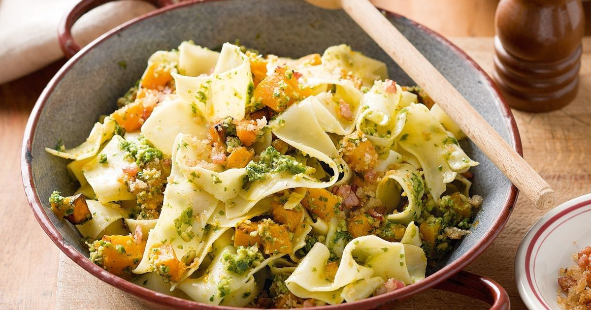 For added texture, serve this pappardelle with crunchy breadcrumbs on top.