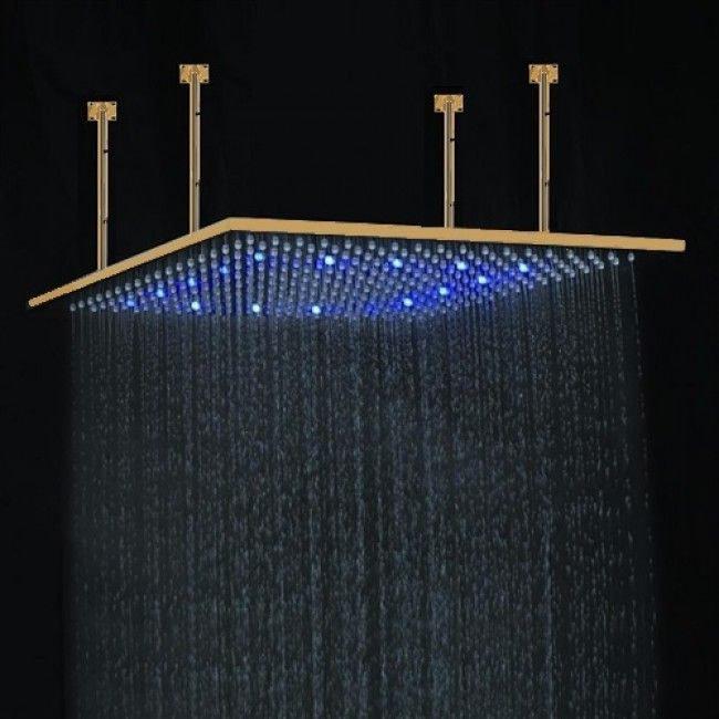 Juno 20 Large Gold Led Rain Shower Head Ceiling Mount With