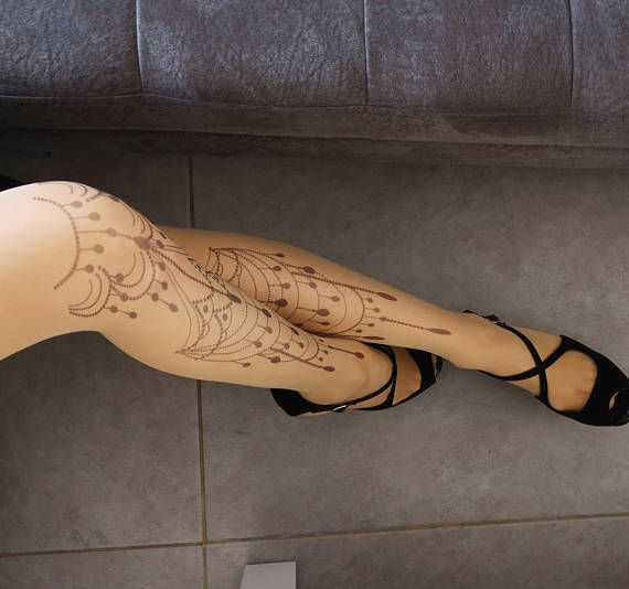f93f5a8818bd0 New Beautiful Tattoo Tights, Printed Pantyhose, Hand printed Tights, S-XXL  Sizes