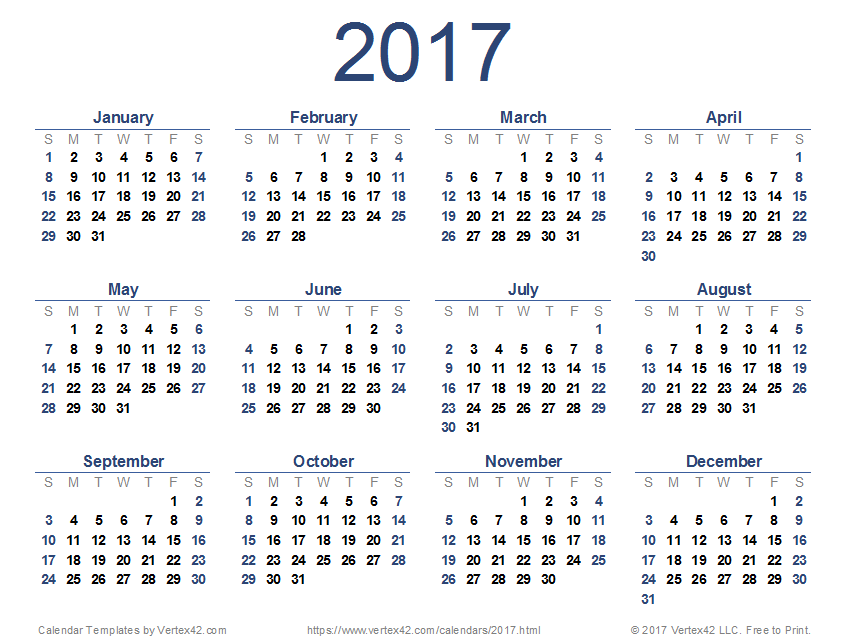 New Printable 2017 Calendar Pdf From Vertex42 Calendars And