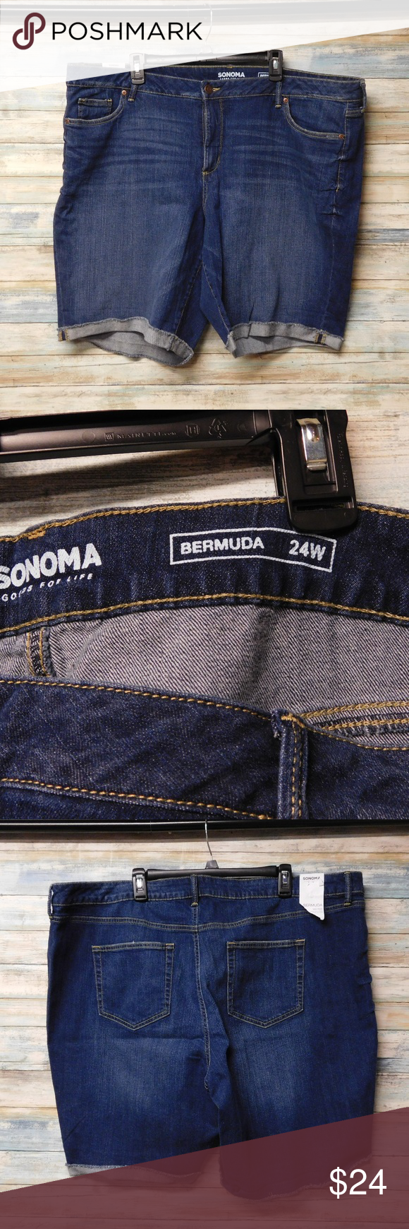 "Women's Sonoma Bermuda Shorts Stretch Jeans 24W Women's Sonoma Bermuda Shorts Stretch Jeans 24W  dark blue Measures approximately: waist one way laying flat: 24""   total 48"" inseam: 13""  22"" long from waist to hem rise: 13"" leg opening: 13.5."" new with tags 99% cotton 1% spandex Sonoma Shorts Bermudas"