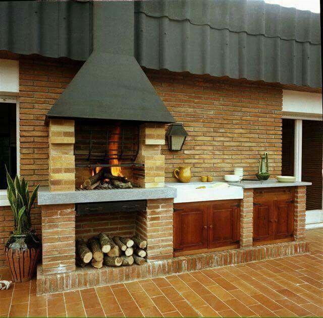 Asador empotrado peque o tips hogar pinterest fire for Asador en patio pequeno