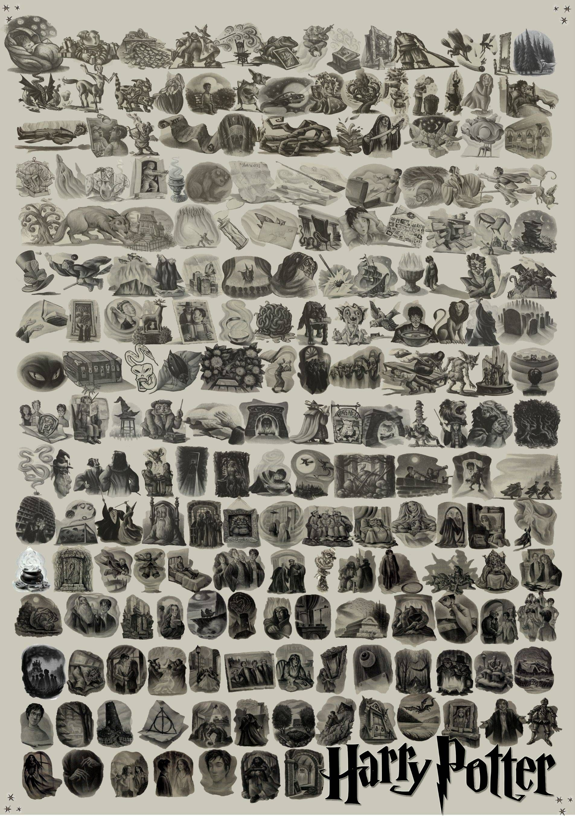Every Harry Potter Chapter Illustration In One Image LOOK