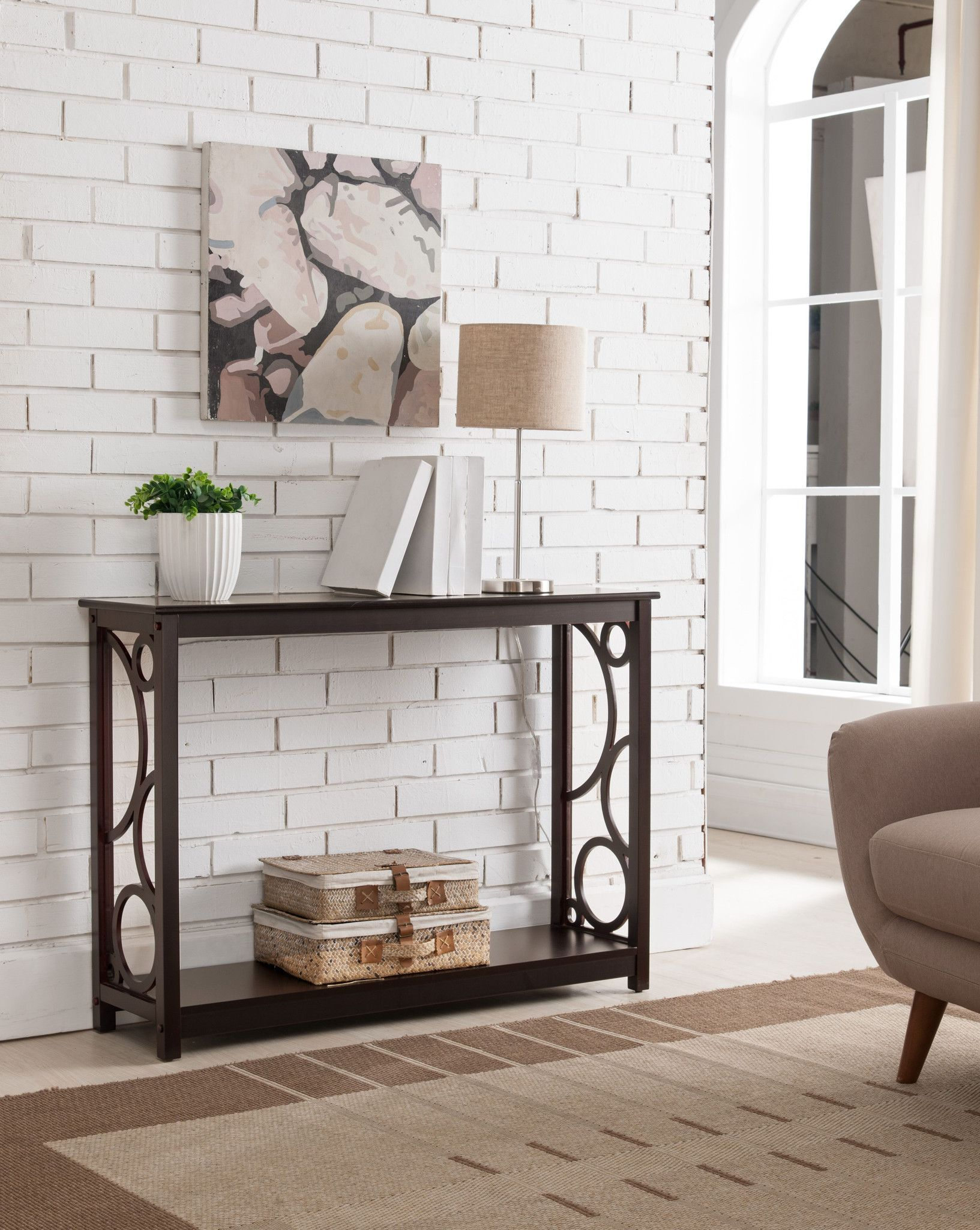Cherry Wood Contemporary Occasional Entryway Console Sofa Table With