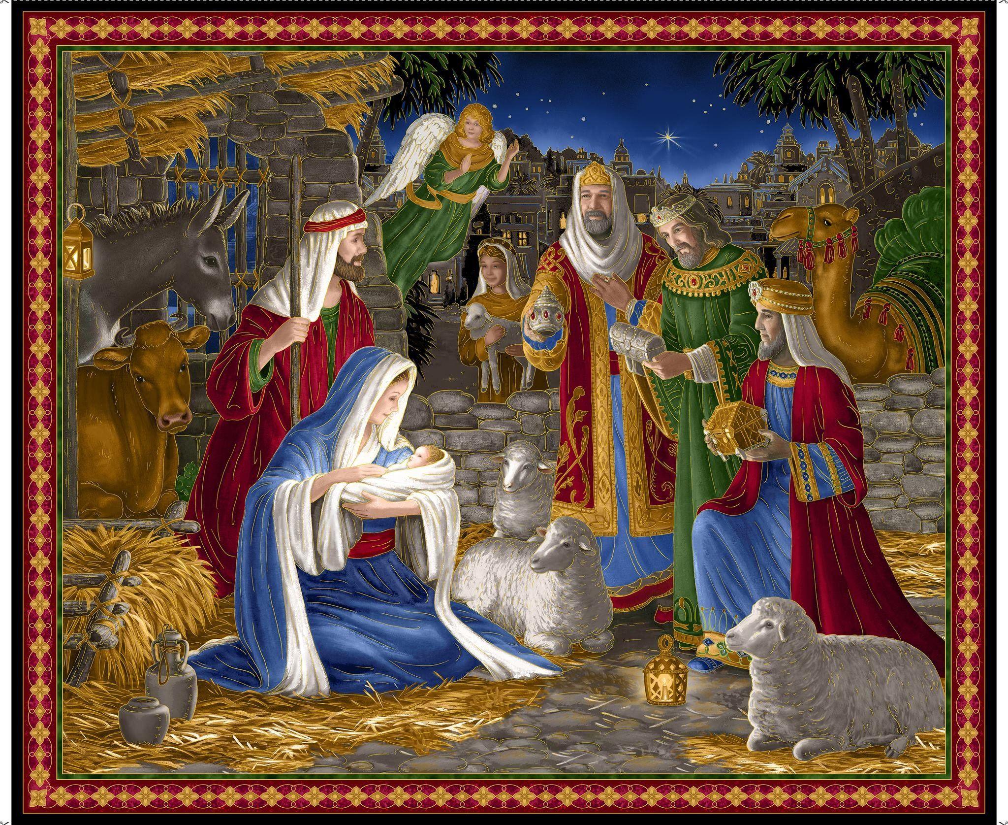 Nativity Barn Christmas Panel