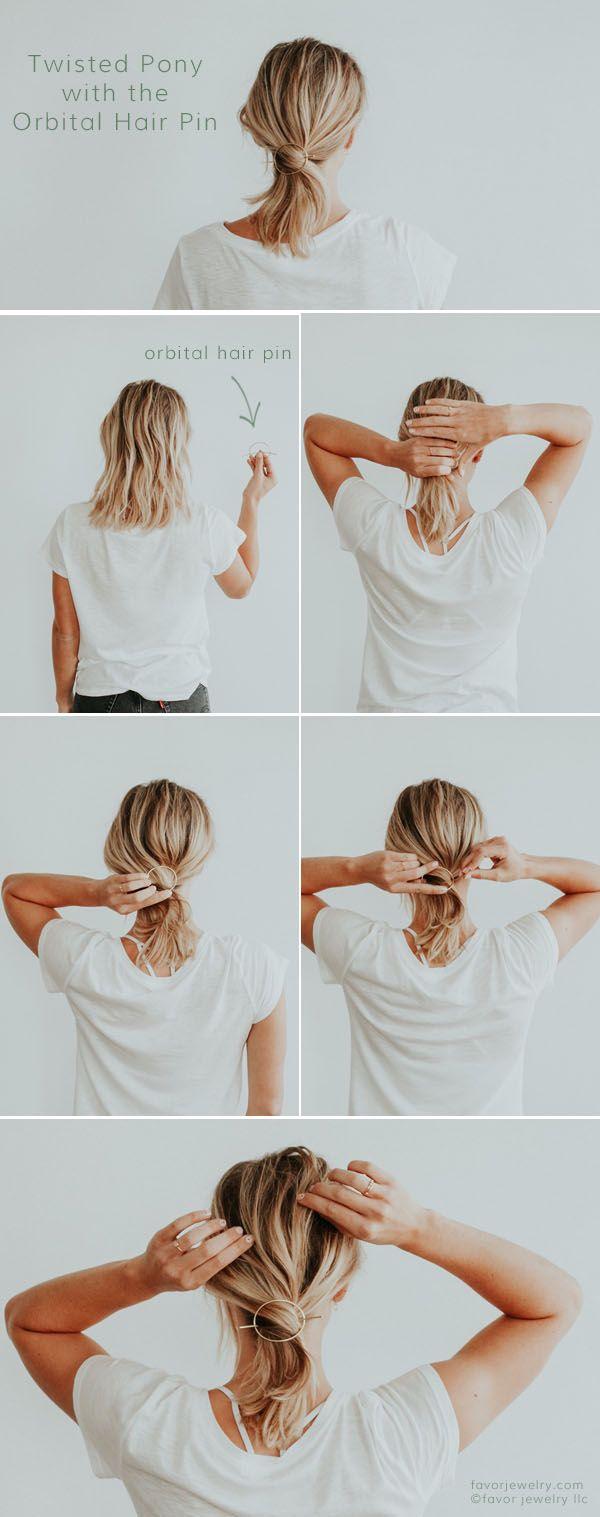 Easy Hair Styles for Short Hair Twisted Pony with the Orbital Hair