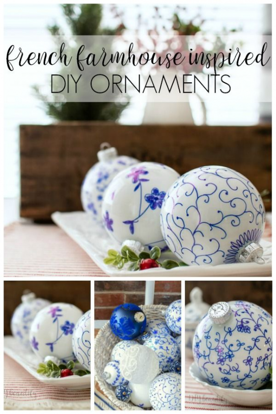 Sharpie ornaments? YES! It's easy to create French farmhouse ornaments reminiscent of vintage dishes with this easy technique! Find out more at DIY beautify. #DIY #Christmas #ornaments #christmasornaments #christmas #ornaments #illustration