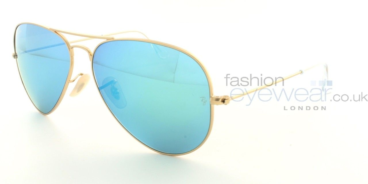 Ray Ban Aviator Rb3025 112 17 Matte Gold Green Mirror Multilayer Blue Green Mirrors