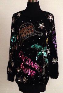 Vintage-80s-Glitz-Glam-Los-Angeles-BONNIE-BOERER-Sequin-Velour-Sweater-Medium