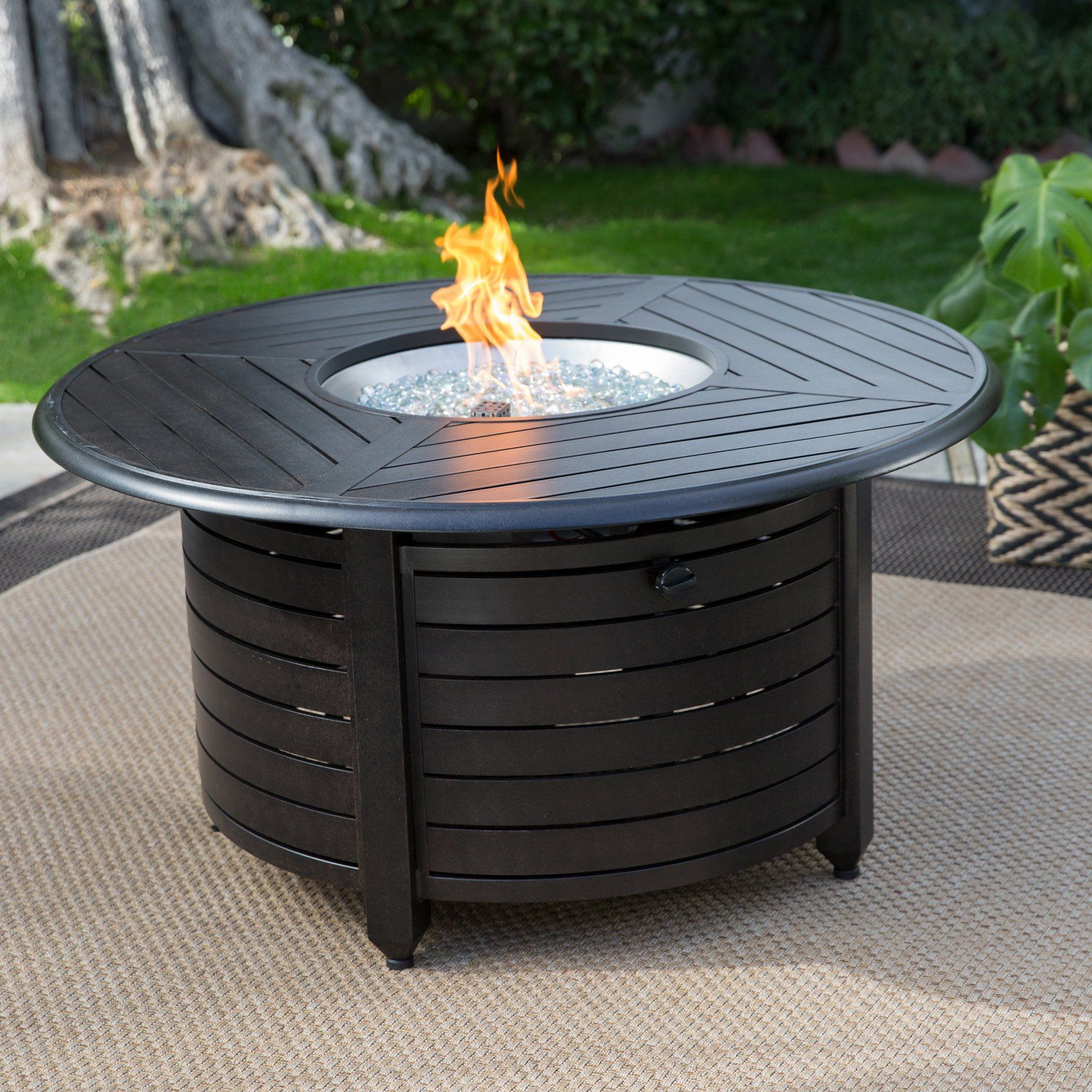 Patio Garden In 2020 Round Fire Pit Table Fire Pit Table Propane Fire Pit Table