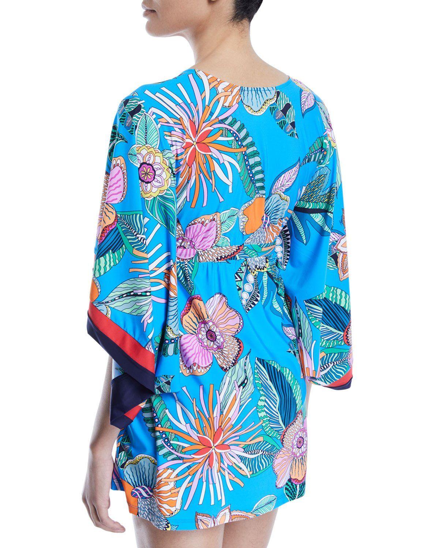 d047e15f00 Tahiti Floral Cape-Sleeve Coverup Tunic   Products   Trina turk ...