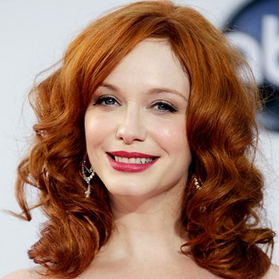 Bright Red Lips Paired With Copper Red Hair On Christina Hendricks