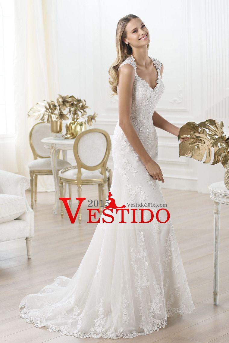 Encanto de 2014 nuevos vestidos de boda de la llegada cuello en V correas de la sirena / de la trompeta cola de la corte con el cordón