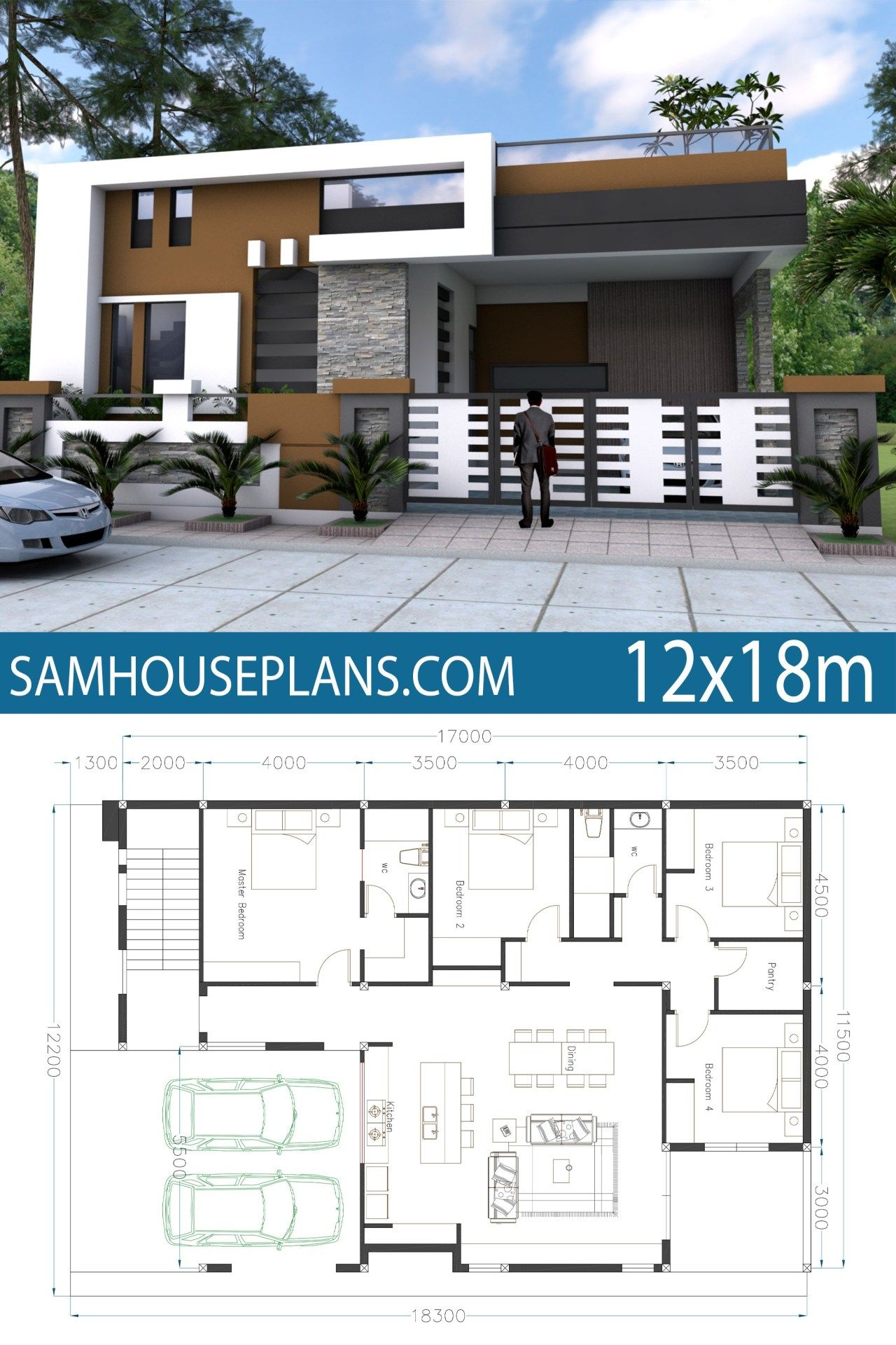 Home Design 40x60f With 4 Bedrooms Sam House Plans Model House Plan House Front Design Architectural Design House Plans