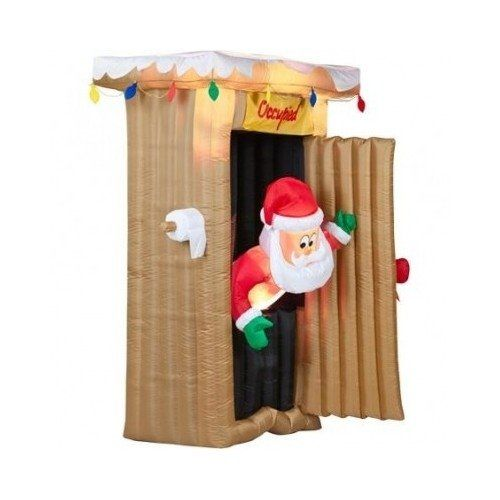 Inflatable Christmas decorations Santa outhouse