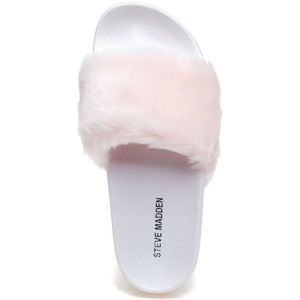 14eb59606 STEVE MADDEN Softey Pink Fluffy Slide ( 40) ❤ liked on Polyvore featuring  shoes