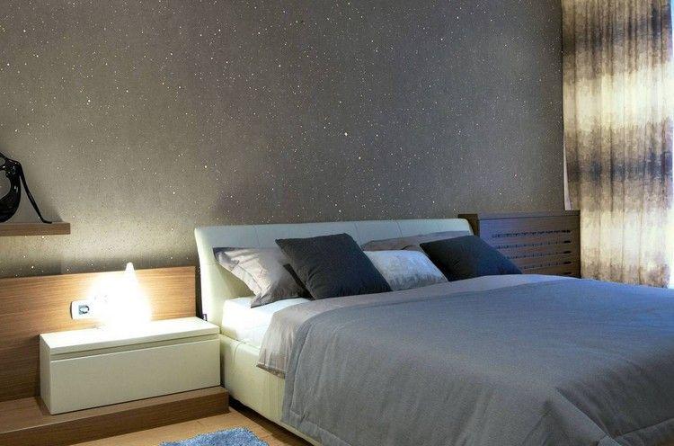 Wandgestaltung Im Schlafzimmer Effektfarbe Mit Glitzerpartikeln