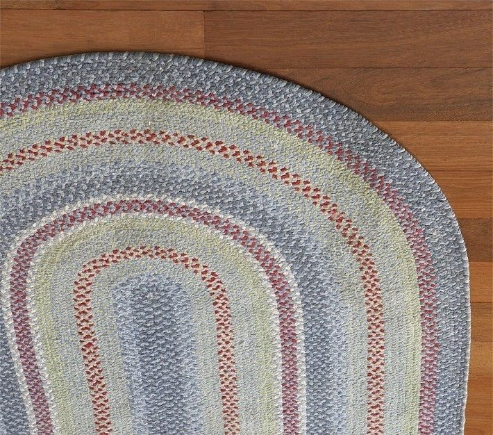 Pottery Barn Kids Chenille Braided Rug Oval Blue Red Primary Colors 5 X 8 New Potterybarnkids