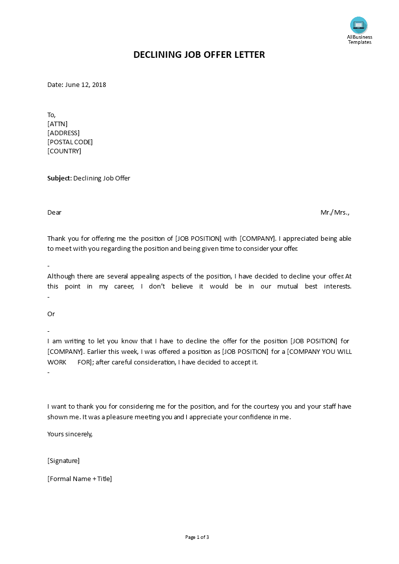 Declining Job Offer Letter Do You Need To Write A Letter To Decline A Job Offer Download This Declining Job Offer Letter Now Job Letter Job Offer Job Advice