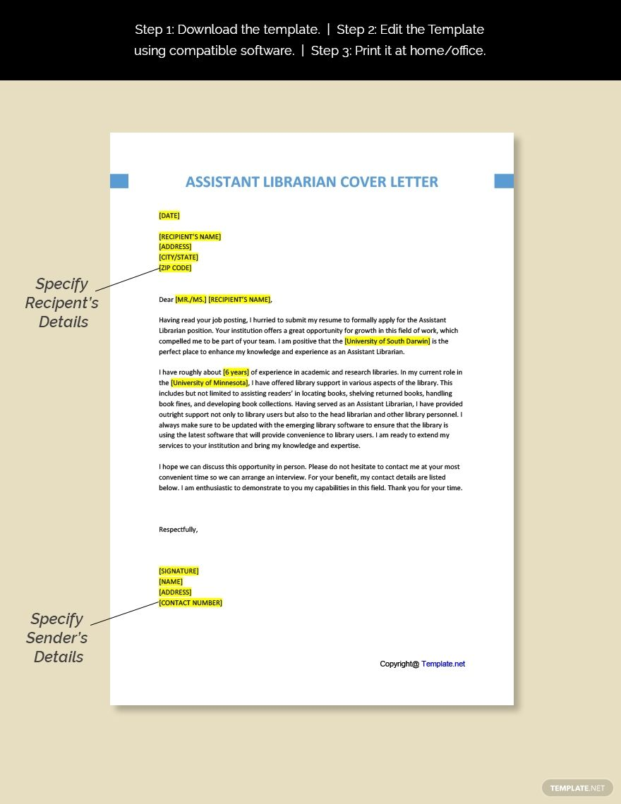 FREE Assistant Librarian Cover Letter Template Word