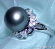 Edler Tahitiperle Diamanten Ring image