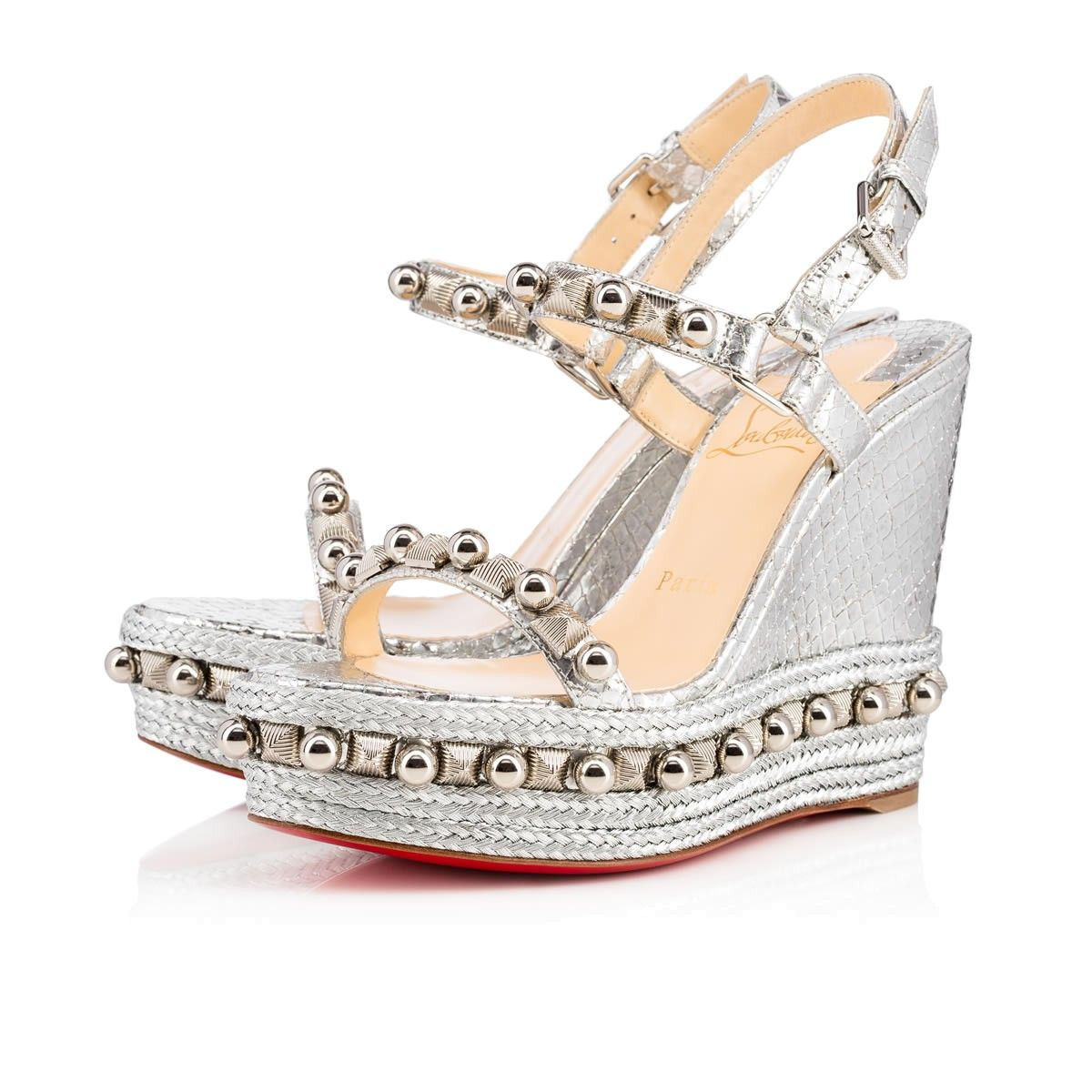 wholesale dealer 0a165 f7c96 CHRISTIAN LOUBOUTIN Cataconico 120 Version Silver Lame ...