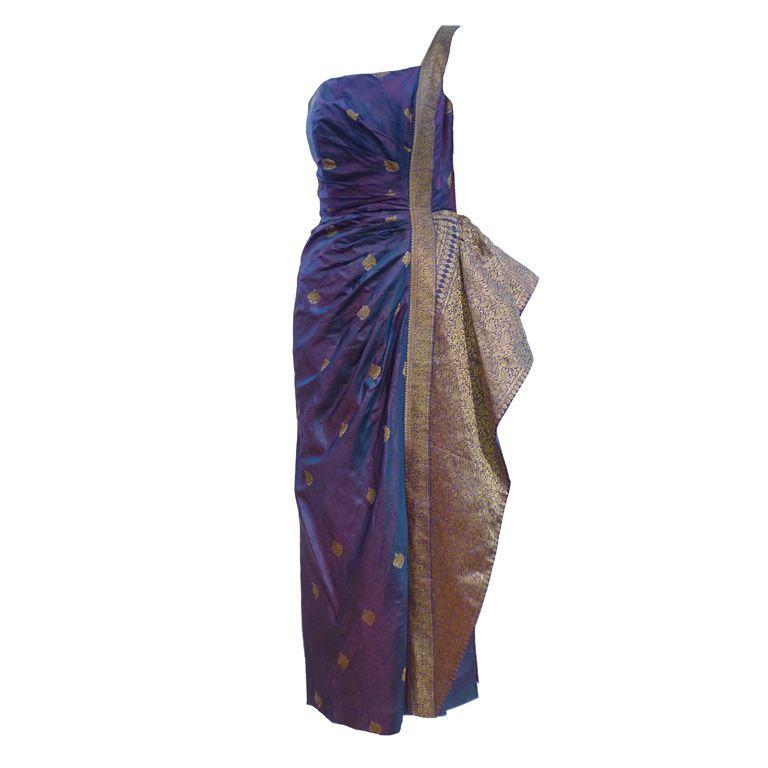 Star of Siam 50s Sari Inspired Bombshell Cocktail Dress #saridress