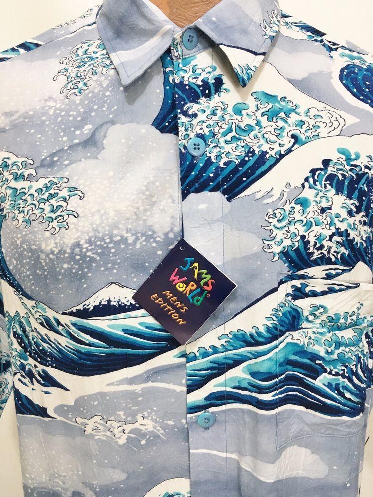 5aabb3b330b Jams World Tsunami Blue Hawaiian Short Sleeve Rayon Shirt Mens M NEW  90   JamsWorld  Hawaiian