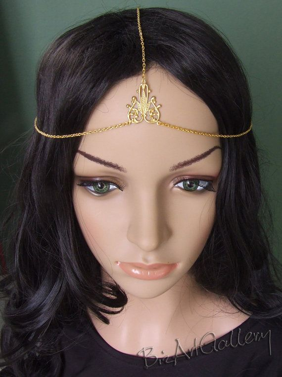 Golden Chain Head Piece Headband Bohemian Medieval Celtic Circlet Headpiece Headdress