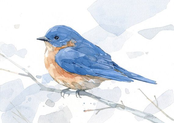 Bluebird watercolor print - woodland painting, bird decor, 5x7 ...