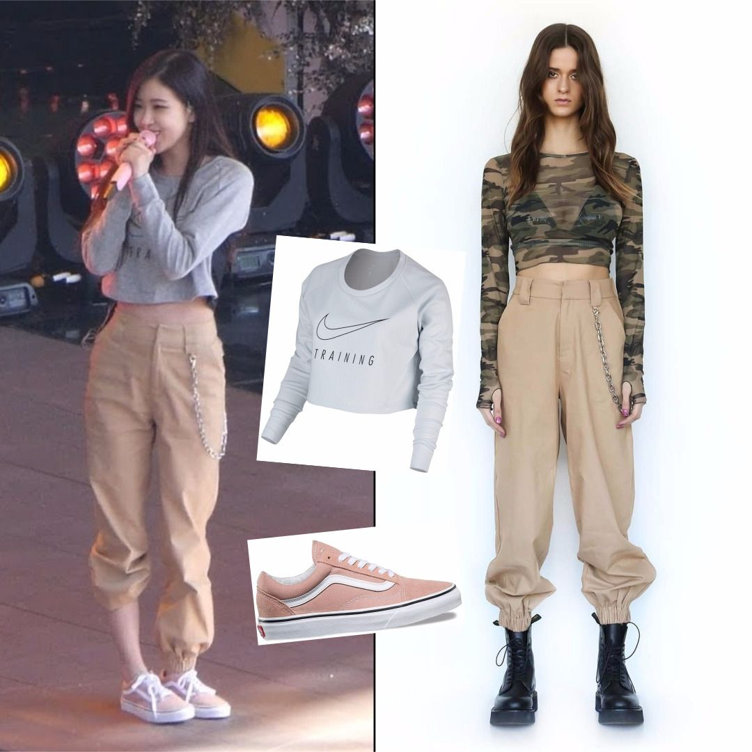 Rehearsal Concertfashion Idol Rose Pick Nike Longsleeve Croptop Womens 39 99 Iamgia Cobain Pan Fashion Cargo Pants Outfit Concert Fashion