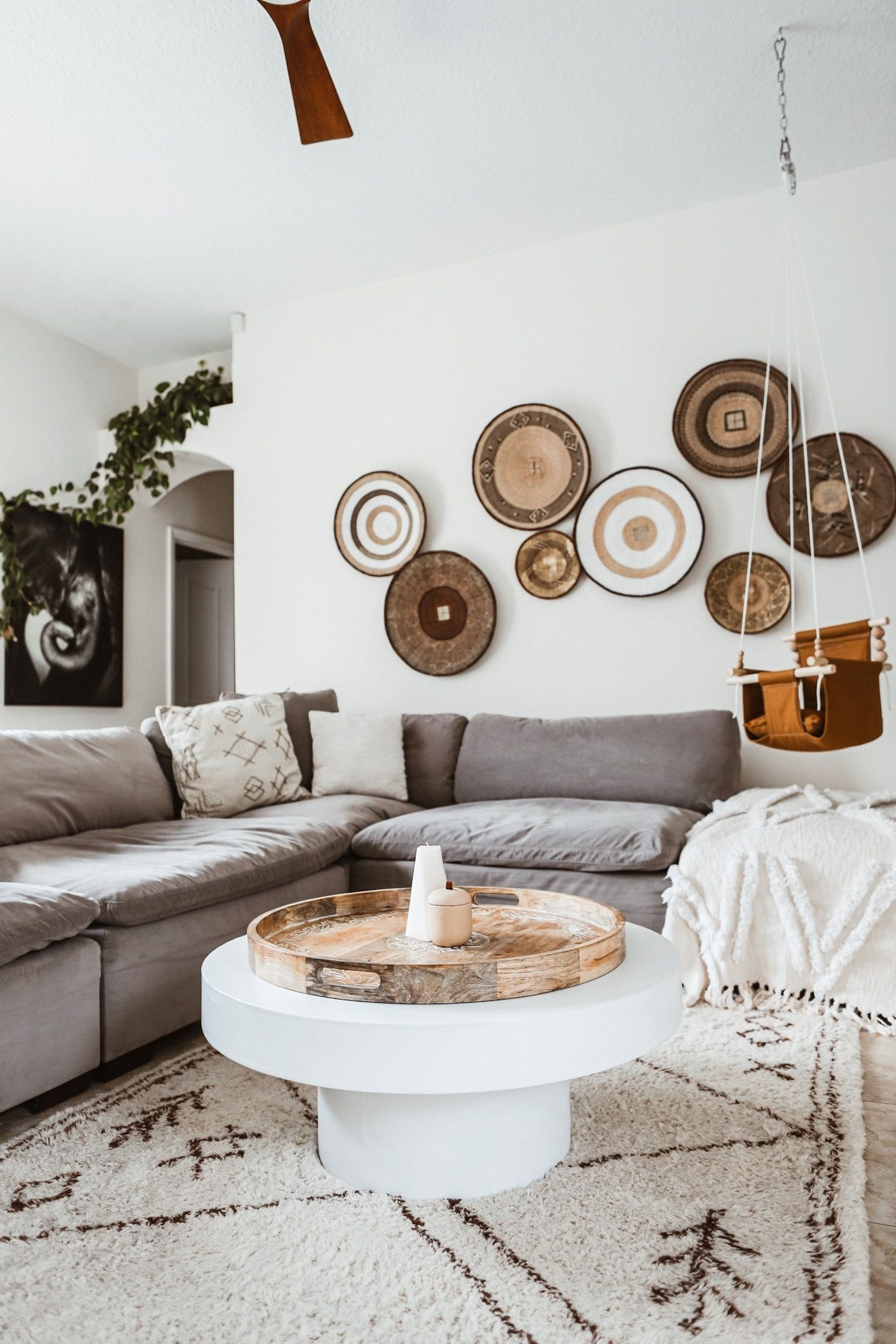 Boho decor, living room, sectional, minimalist decor, boho ...
