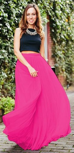Indie XO Do A Twirl 7 Layer Fuchsia Pink Pleated Elastic Waist ...