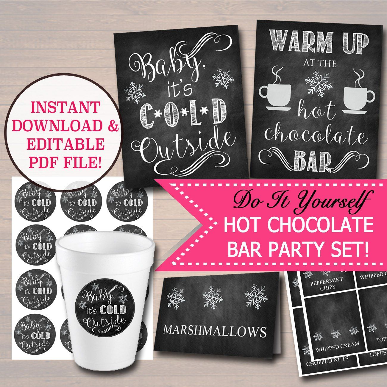 EDITABLE DIY Hot Chocolate Bar Party Set, Printable Baby It's Cold Outside Sign, Christmas Party, Winter Onederland Party, Winter Wedding #hotchocolatebar