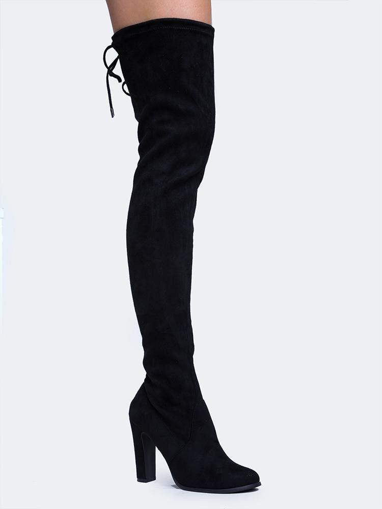 Black Round Pointy Toe Thigh High Boots Single Sole Chunky High ...