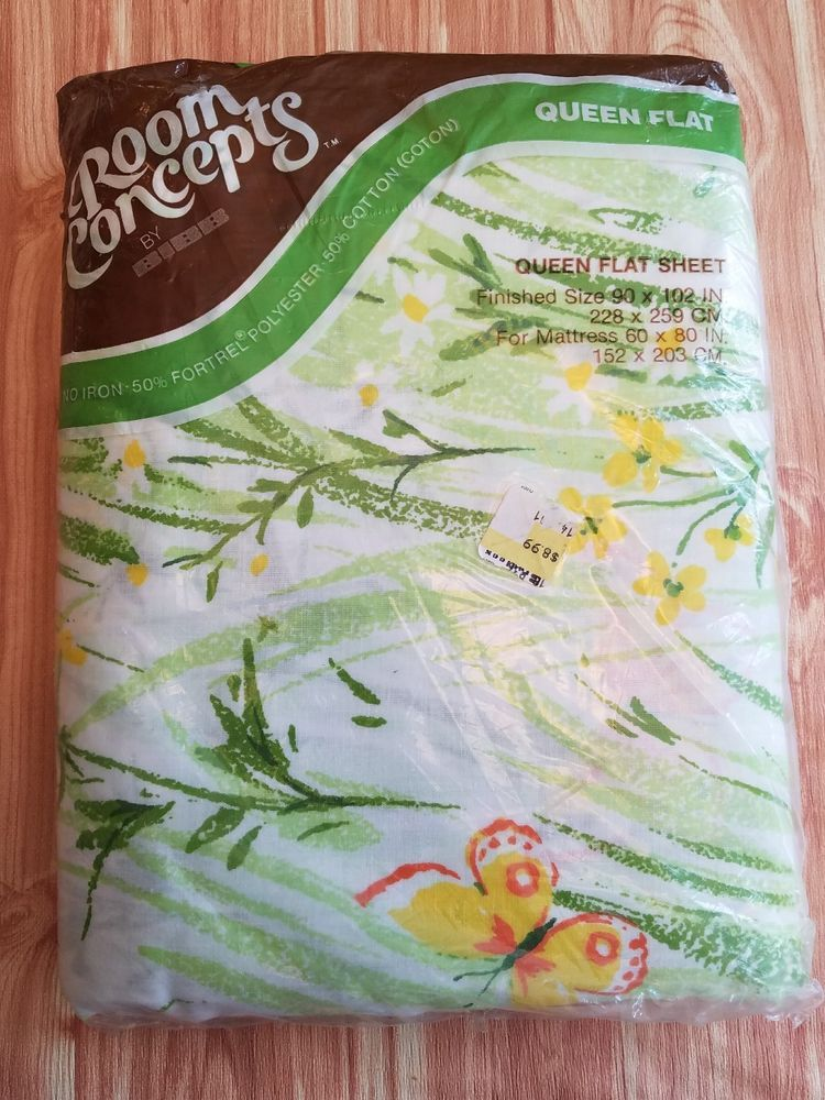 NOS Bibb Queen Flat Sheet Yellow Green Butterfly  Spring Meadow  Made in USA    Collectibles, Linens & Textiles (1930-Now), Bed & Bath Linens   eBay!