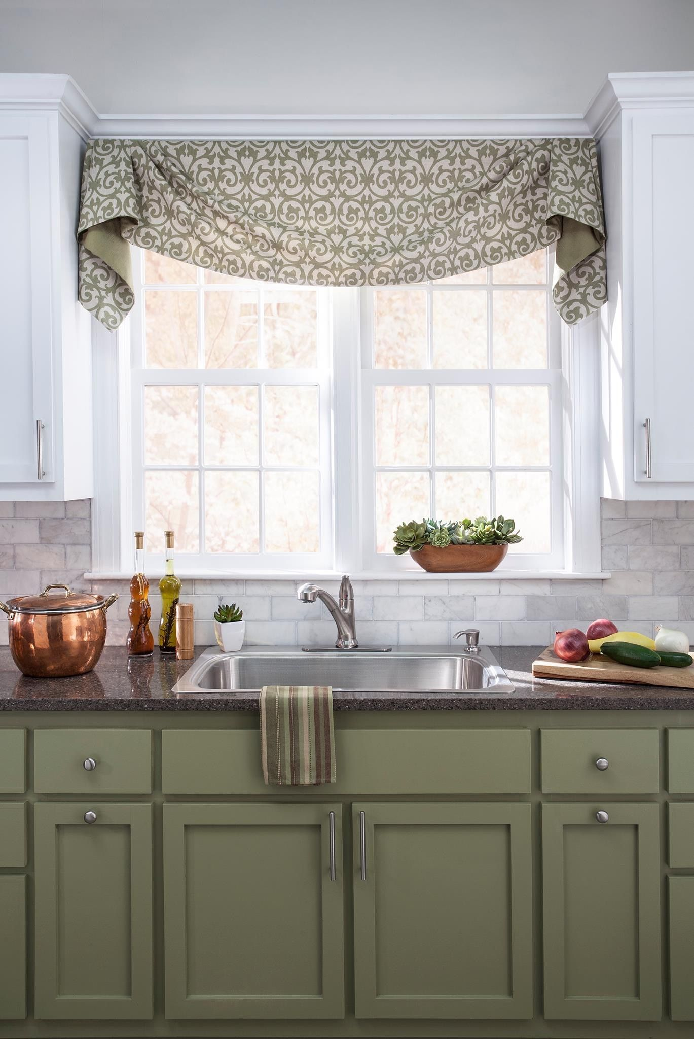 green cabinets kitchen window treatments kitchen window valances kitchen valances on farmhouse kitchen curtains id=39384