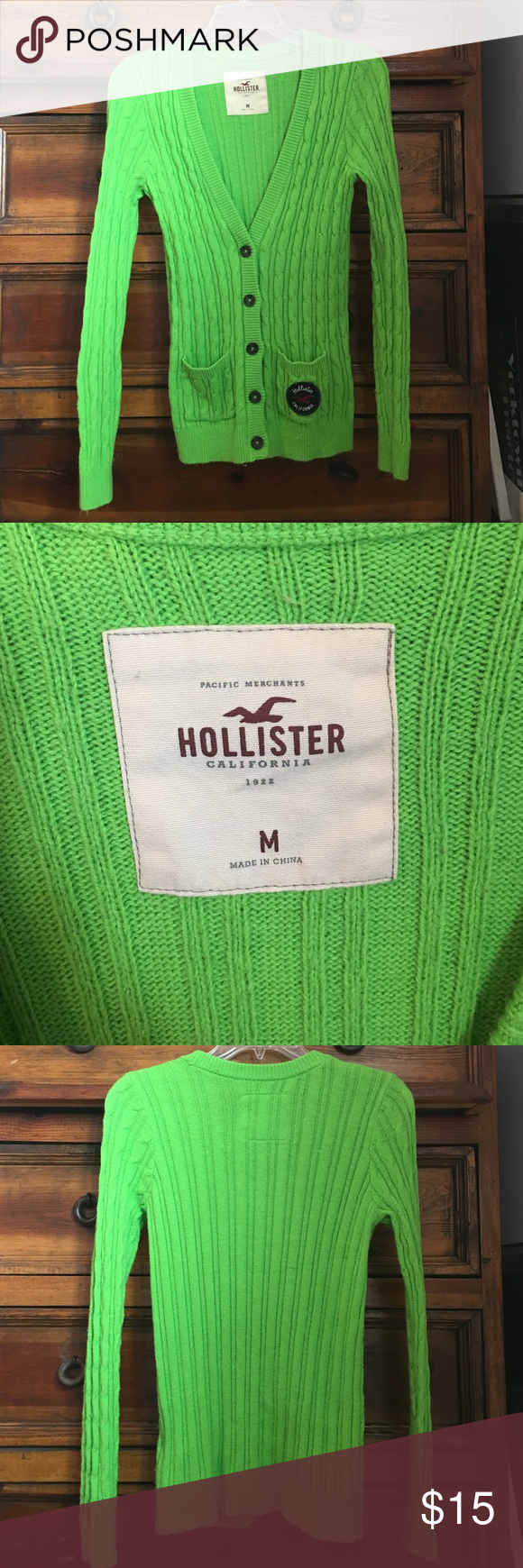 Green Hollister sweater/cardigan 60% cotton, 35% nylon,5% rabbit hair. In great condition! Hollister Sweaters Cardigans