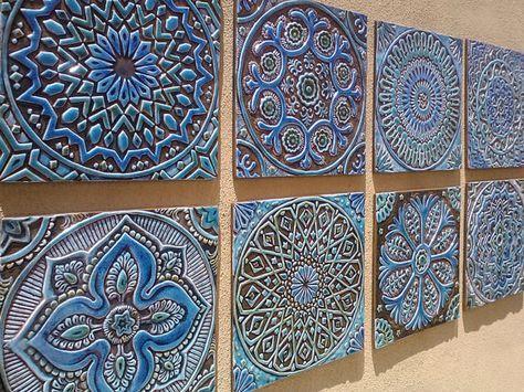 Moroccan decor, Set of 4 Moroccan tiles, Moroccan wall art, Outdoor ...