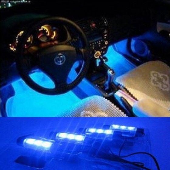 4*3 LED 12V Car Auto Interior Atmosphere Lights Decoration Lamp Blue