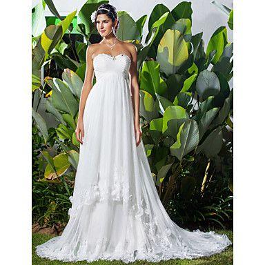 vaina / columna cariño tribunal tren gasa vestido de novia de encaje ...