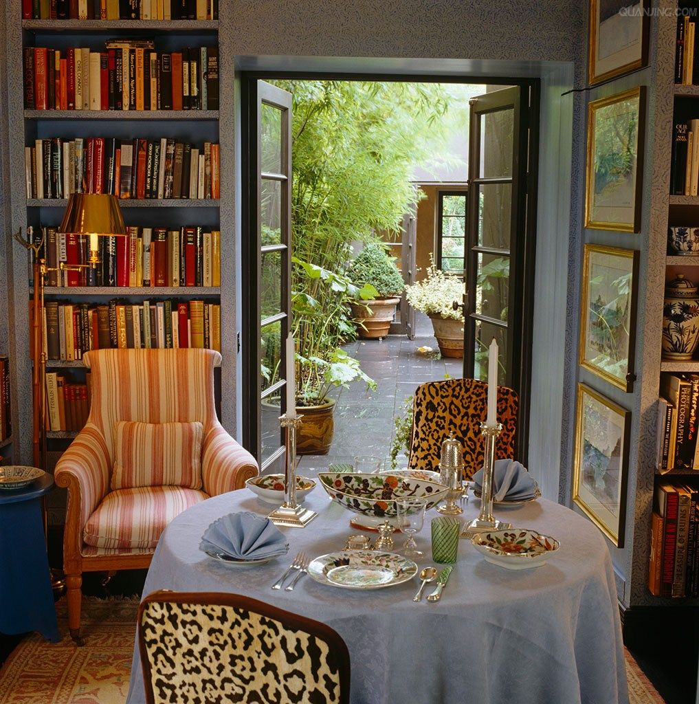 elegant animal print accented library and dining room by John Stefanidis design #thehighboystyle