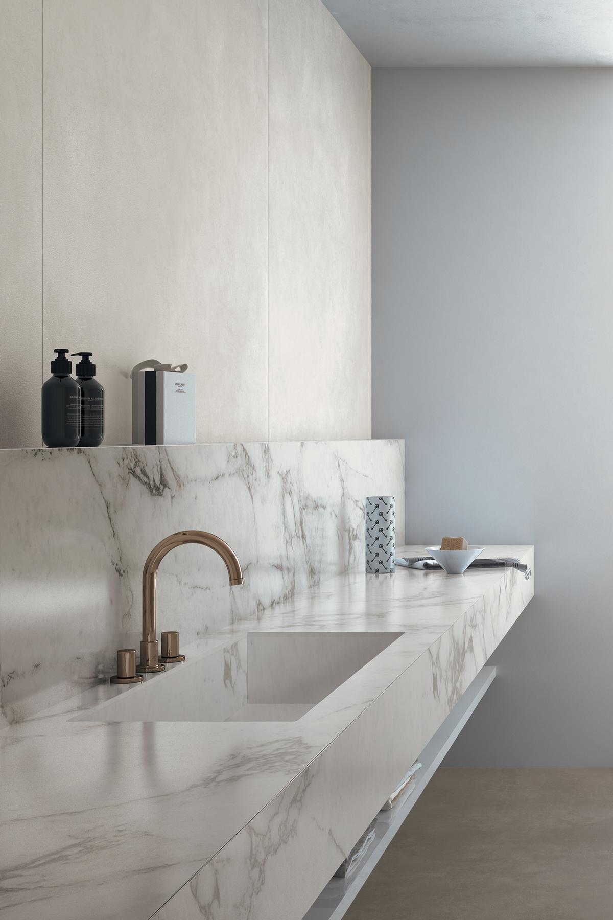 12++ Plan de travail salle de bain marbre trends