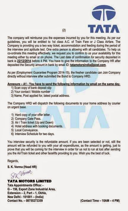 Recruitment Scam Tata Motors India Shared Quot Offer Letter Pdf