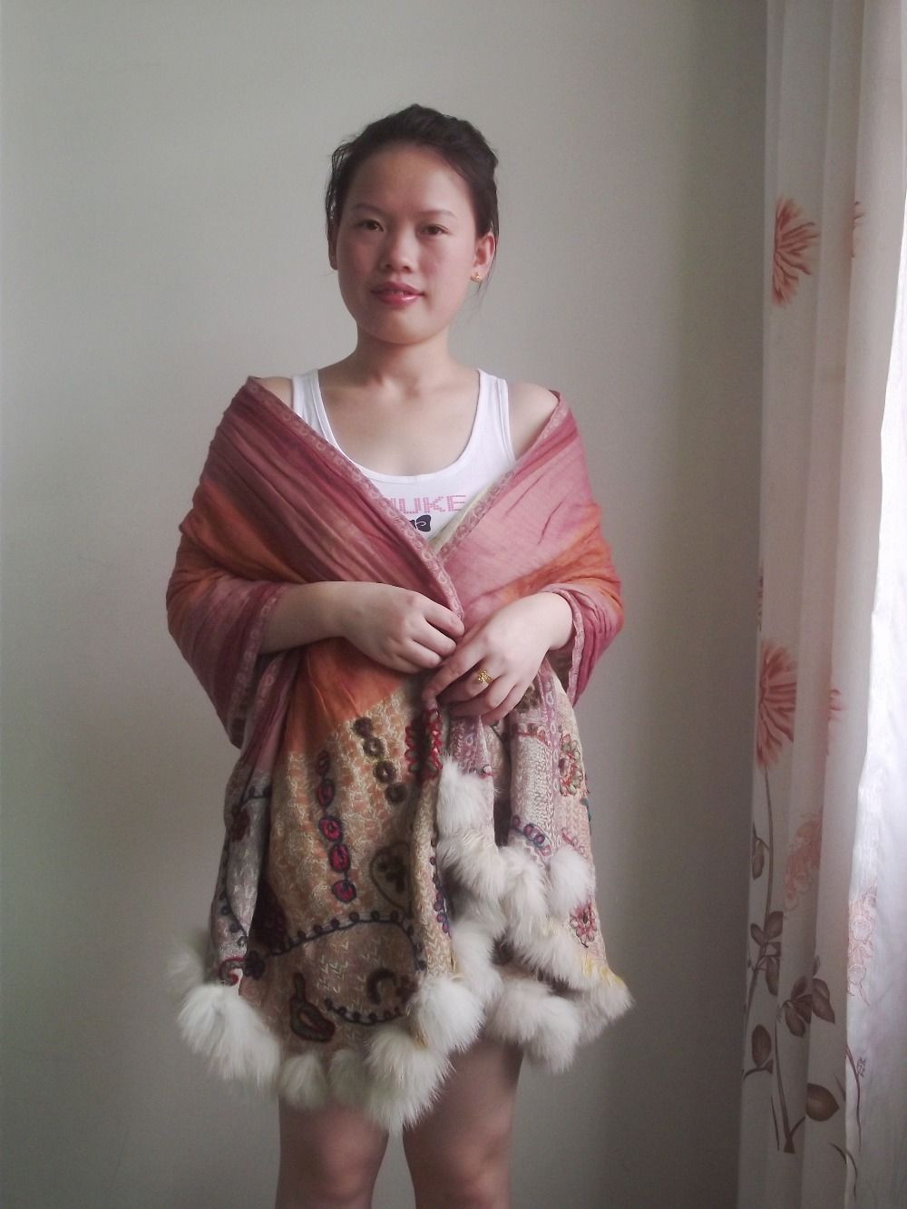 Nepalese boiled wool embroidered pashmina shawl with fur pompoms