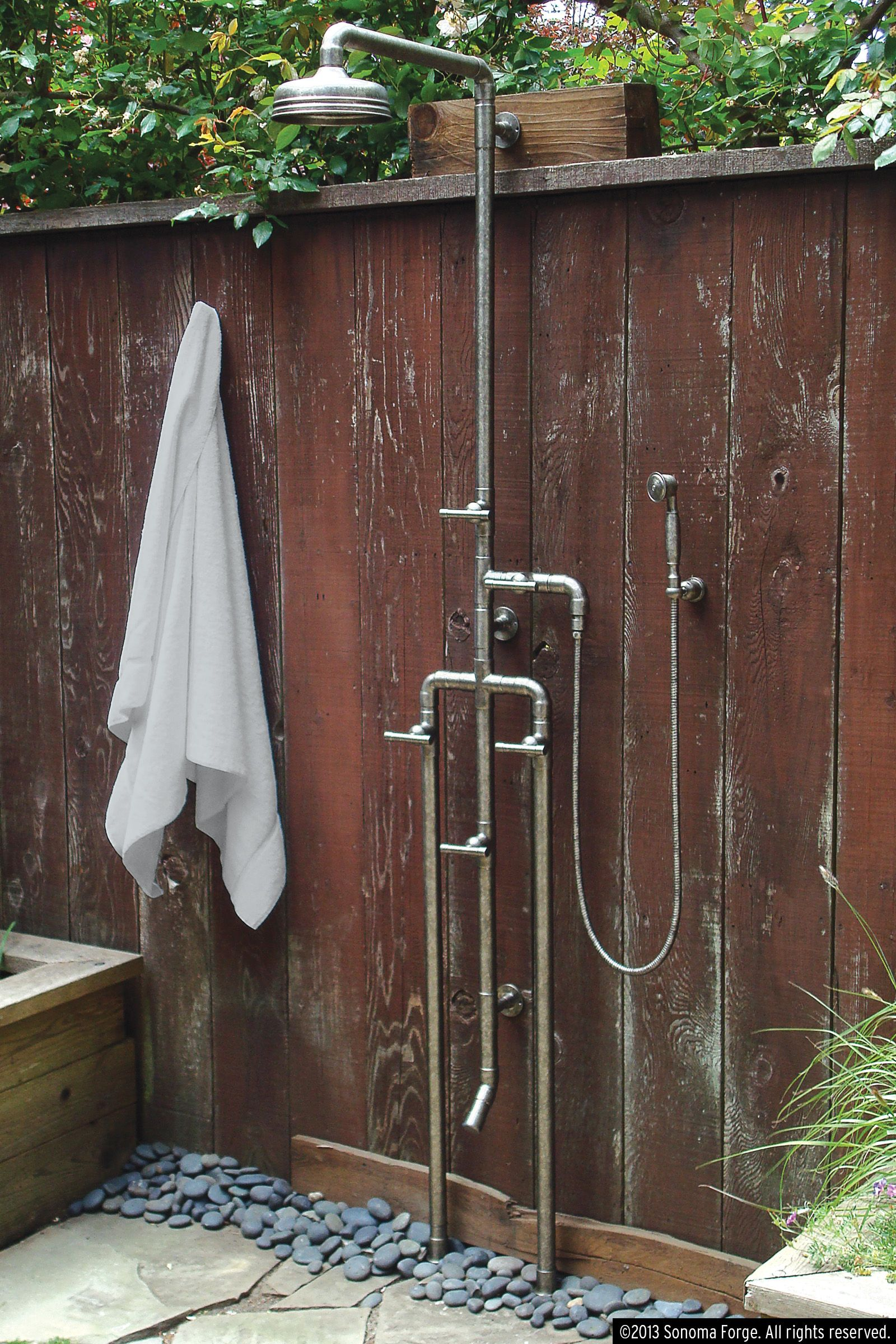 Outdoor Shower Parts : High low rugged outdoor shower happy marriage